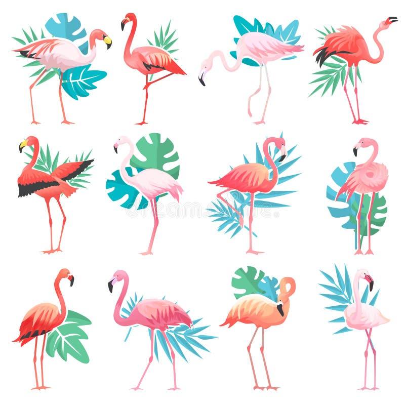 Tropiska rosa flamingo för flamingovektor och exotisk fågel med palmbladillustrationuppsättningen av modepippin som isoleras på vektor illustrationer