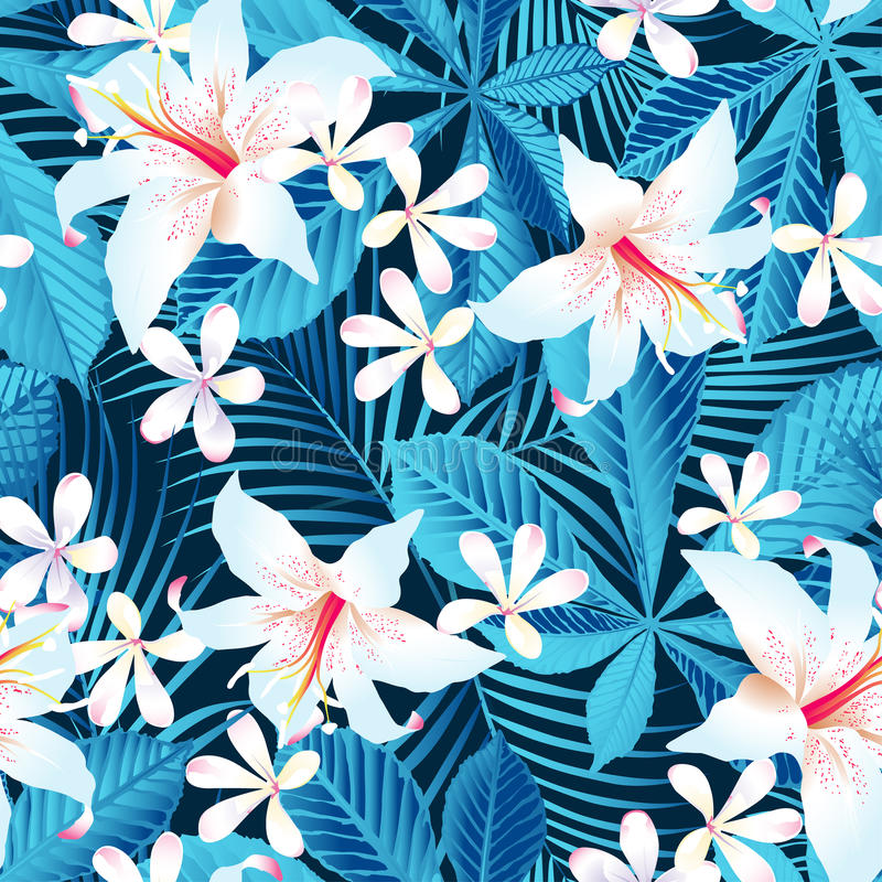 Tropiska sömlös modell för hibiskus blom- 5 vektor illustrationer