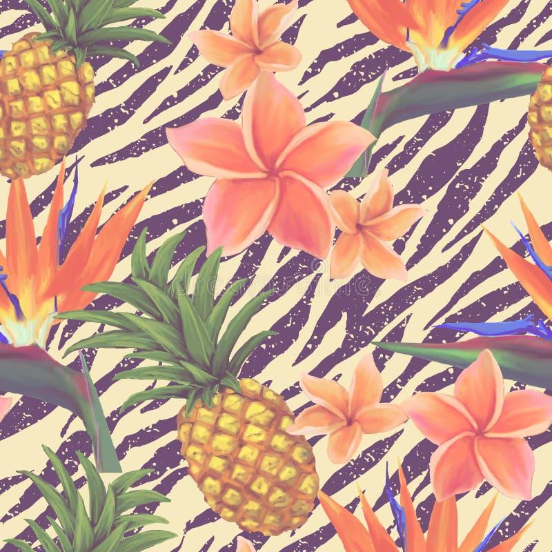 Tropiska sömlösa exotiska blommor och ananas stock illustrationer