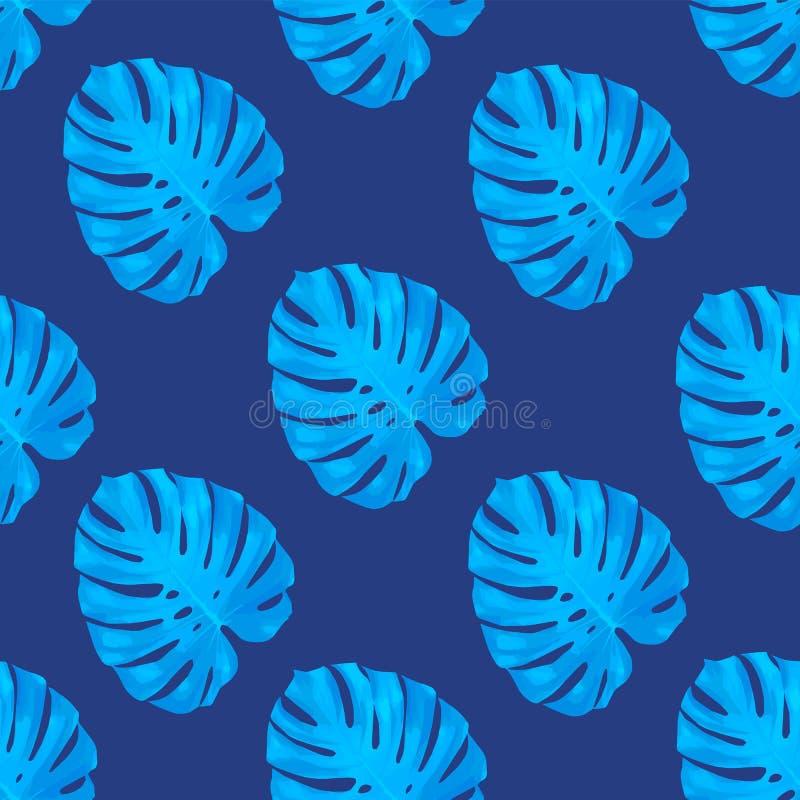 Tropiska sidor, bakgrund för modell för djungelmonsterablad sömlös blom- blå Vektorillustration, eps 10 royaltyfri illustrationer