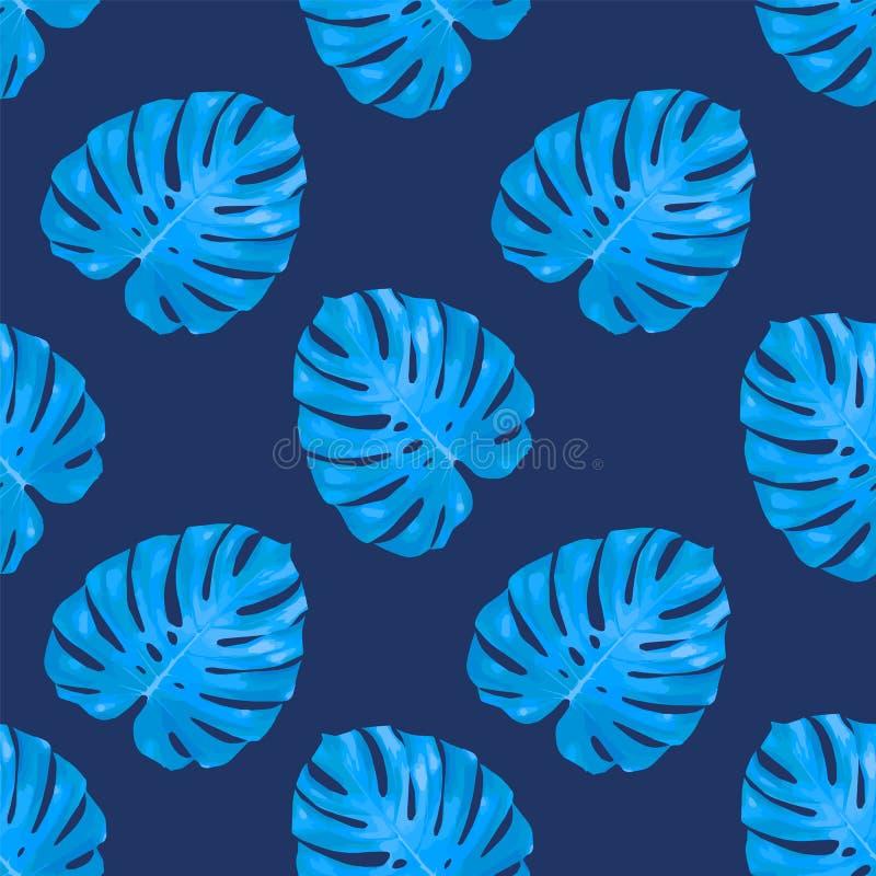 Tropiska sidor, bakgrund för modell för djungelmonsterablad sömlös blom- blå Vektorillustration, eps 10 stock illustrationer