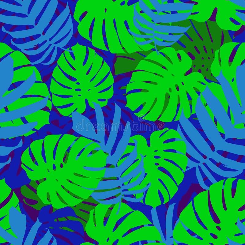 Tropiska sidor, bakgrund för modell för djungelmonsterablad sömlös blom- Vektorillustration, eps 10 royaltyfri illustrationer