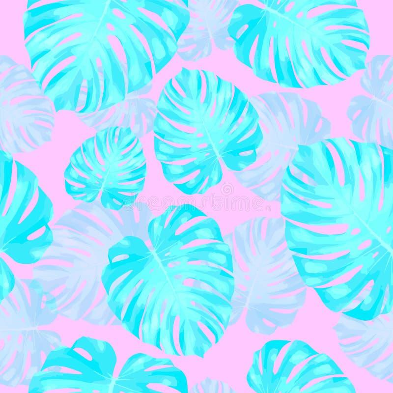 Tropiska sidor, bakgrund f?r modell f?r djungelmonsterablad s?ml?s blom- Vektorillustration, eps 10 vektor illustrationer