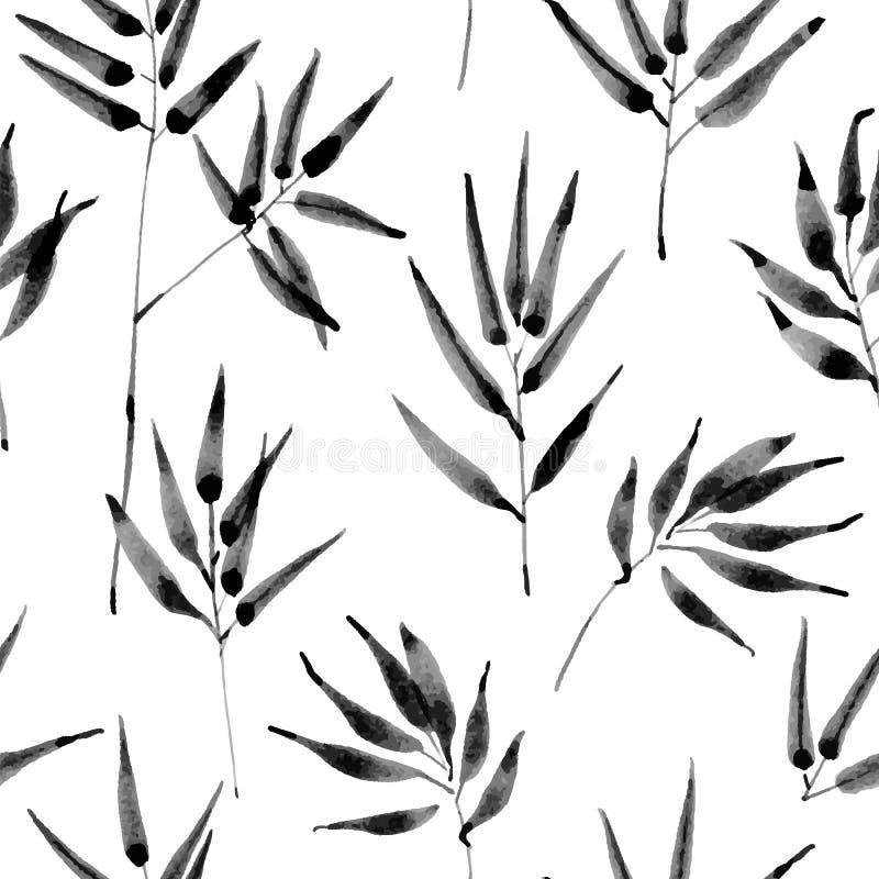 Tropiska sidor, djungelmodell Sömlös, detaljerad botanisk modell Det kan vara nödvändigt för kapacitet av designarbete stock illustrationer