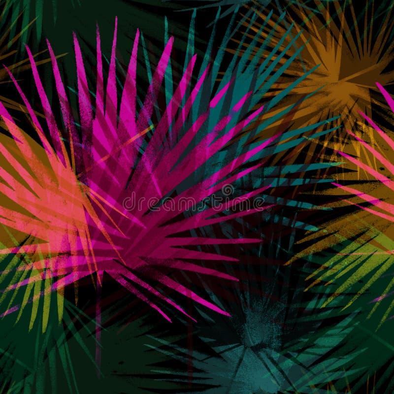 Tropiska sidor, djungelmodell Sömlös färgrik botanisk modell Ljus färgbakgrund för vattenfärg Palmblad royaltyfri illustrationer