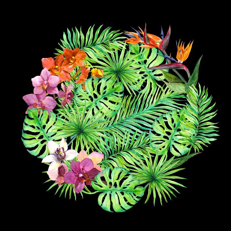 Tropiska sidor, exotiska blommor mönstrad runt vattenfärg arkivbild