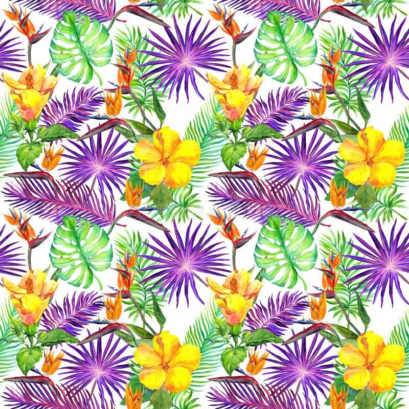Tropiska sidor, exotiska blommor seamless djungelmodell vattenfärg arkivfoton
