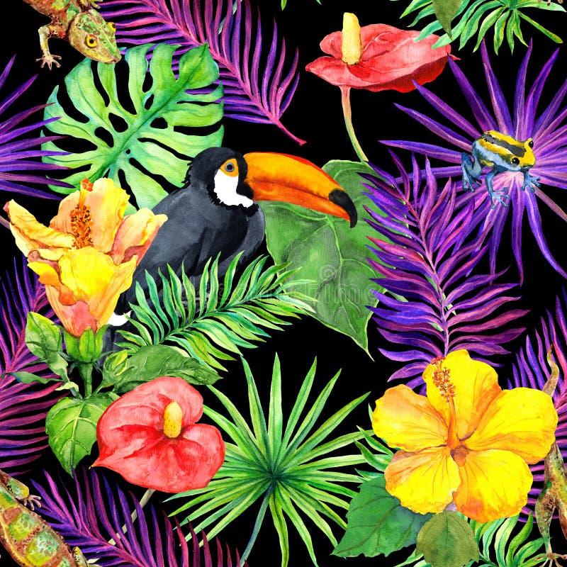 Tropiska sidor, exotiska blommor, tukanfågel, gecko seamless wallpaper vattenfärg stock illustrationer