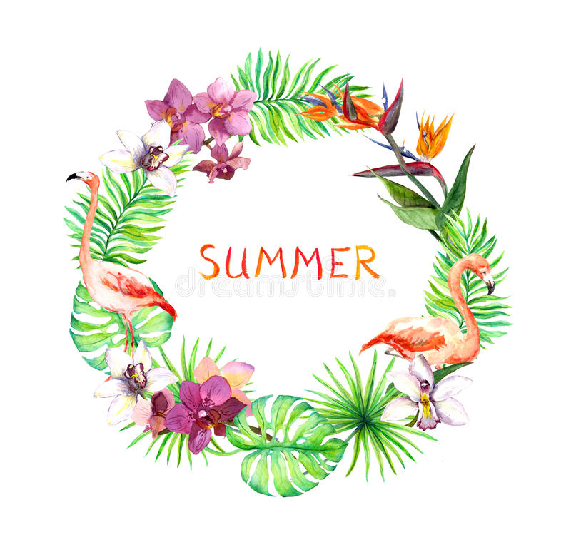 Tropiska sidor, exotiska flamingofåglar, orkidé blommar Kransgräns vattenfärg stock illustrationer