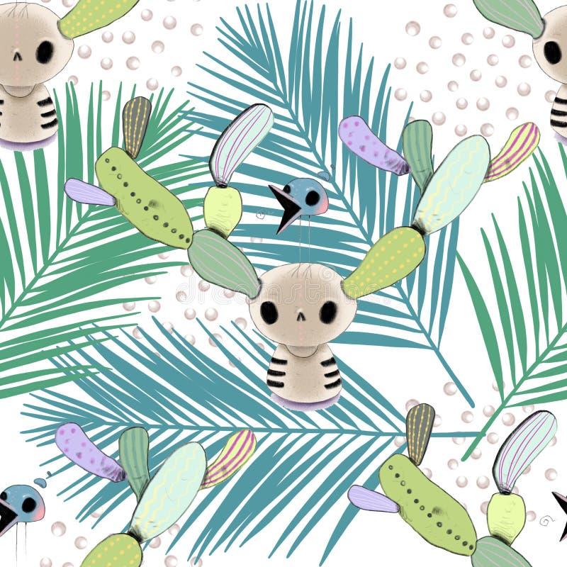 Tropiska sidor för vattenfärg och sömlös modell för skalle royaltyfri illustrationer