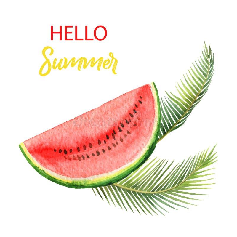 Tropiska sidor för vattenfärgvektorkort och skiva av vattenmelon som isoleras på vit bakgrund vektor illustrationer