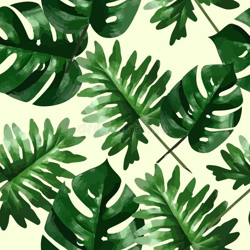 Tropiska sidor och blommor av palmträdet seamless modell stock illustrationer