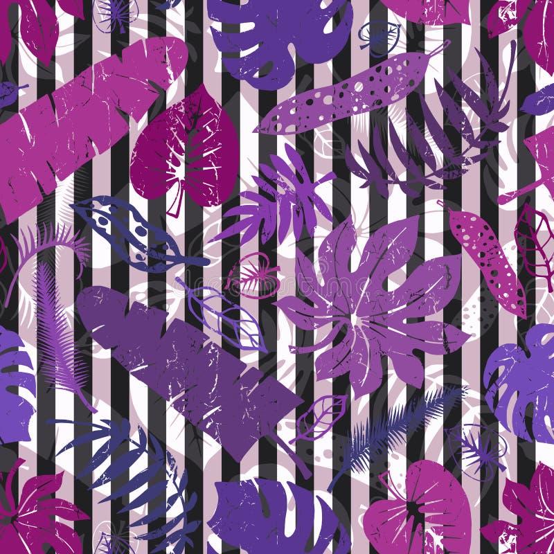 Tropiska sidor, sömlös modell för filialer Lila remsor royaltyfri illustrationer