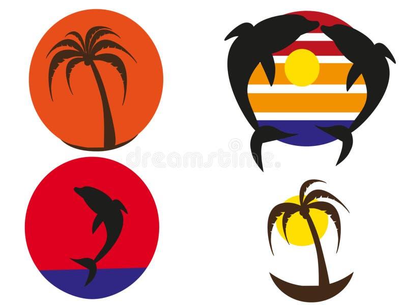 Tropiska solnedgångar för logoer stock illustrationer