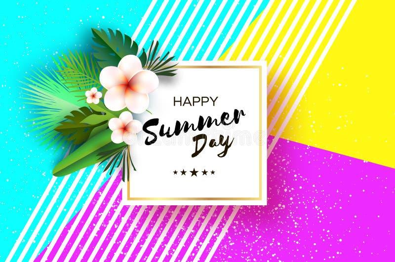 Tropiska sommarpalmblad, växter, blommar frangipanien - Plumeria Exotisk papperssnittkonst hawaiibo Fyrkantig ramforText vektor illustrationer