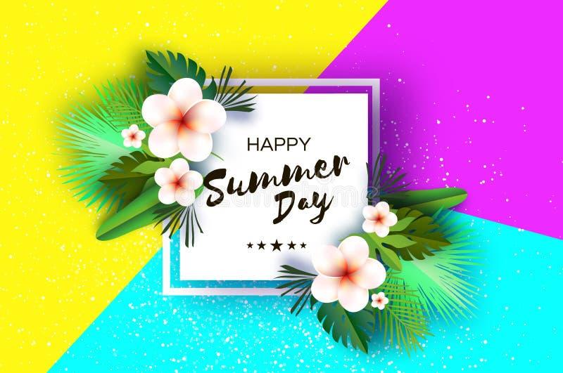 Tropiska sommarpalmblad, växter, blommar frangipanien - Plumeria Exotisk papperssnittkonst hawaiibo Fyrkantig ramforText stock illustrationer