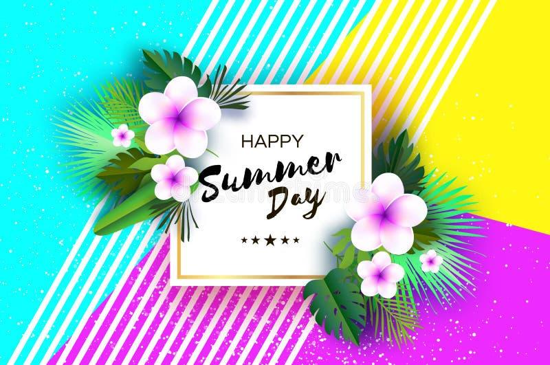 Tropiska sommarpalmblad, växter, blommar frangipanien - Plumeria Exotisk papperssnittkonst hawaiibo Fyrkantig ramforText royaltyfri illustrationer