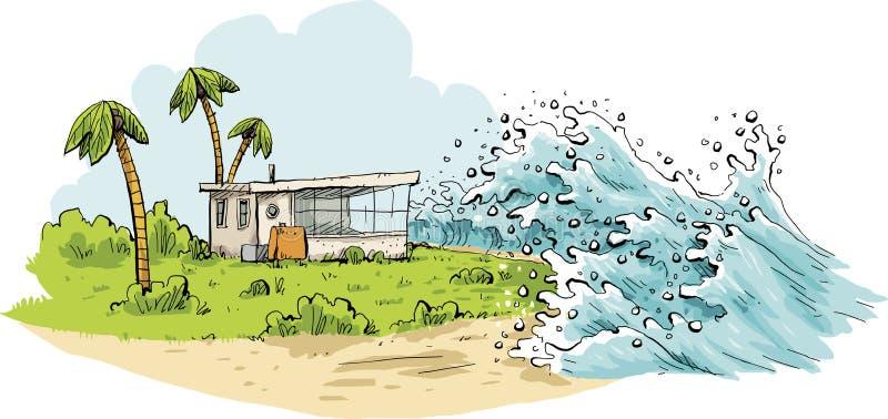 Tropiska tsunamivågor stock illustrationer