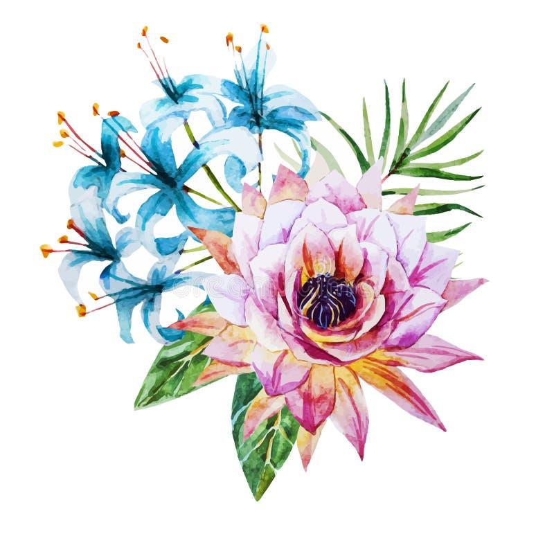 Tropiska vattenfärgblommor stock illustrationer