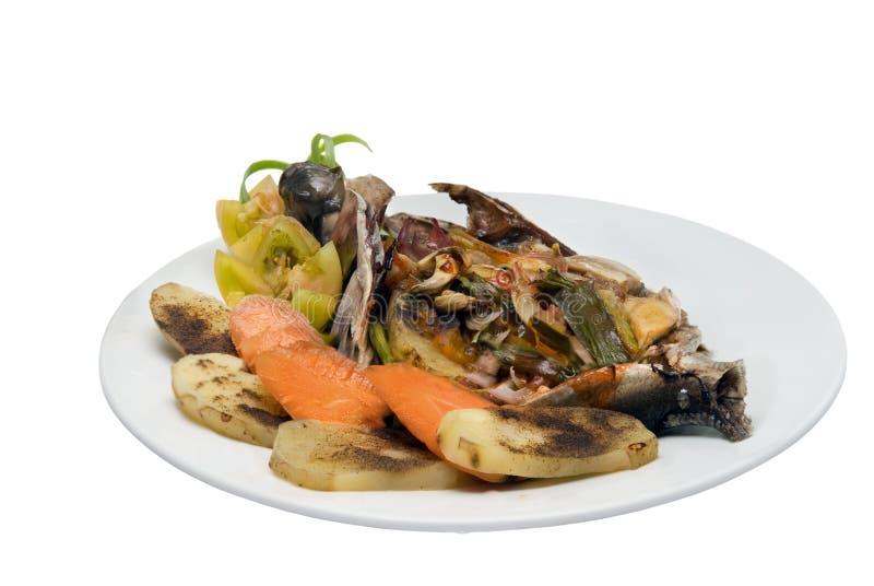 tropiska veggies för maträttfiskmat arkivfoton