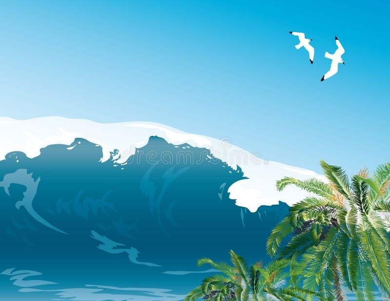 tropiskt ölandskap vektor illustrationer
