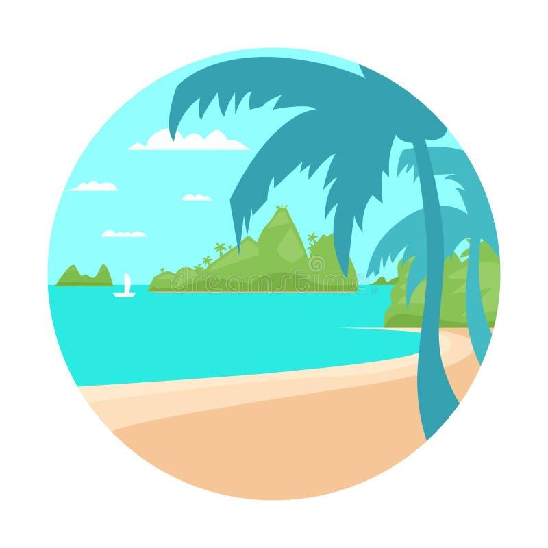 Tropiskt begrepp Fl för semester för sommar för hav för strandöpalmträd vektor illustrationer