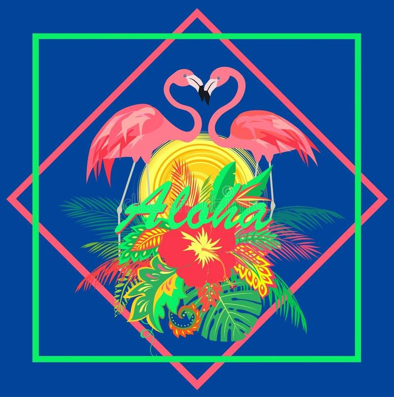Tropiskt blom- hawaianskt tryck för T-tröja med solen och par av den gulliga rosa flamingo på blå bakgrund royaltyfri illustrationer