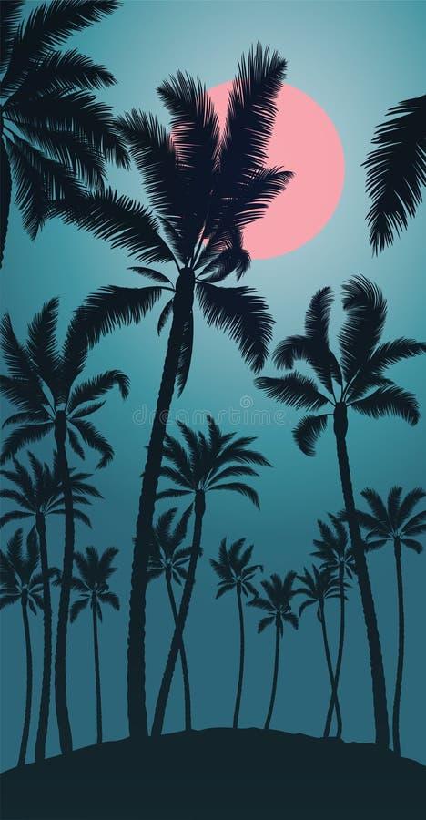 Tropiskt gömma i handflatan med rosa månesoluppgång och blå himmel royaltyfri fotografi