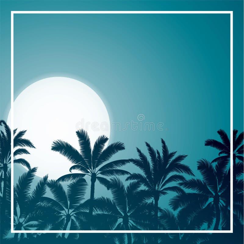 Tropiskt gömma i handflatan med soluppgång- och natthimmel för blå måne arkivfoto