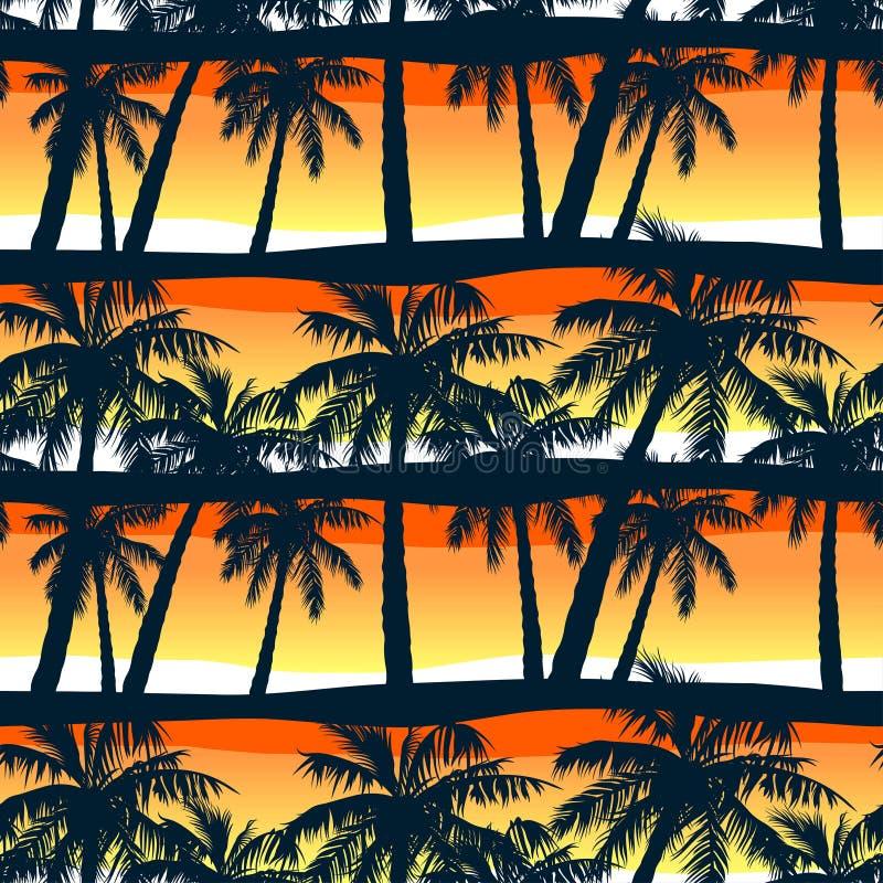Tropiskt gömma i handflatan träd på solnedgången i en sömlös modell stock illustrationer