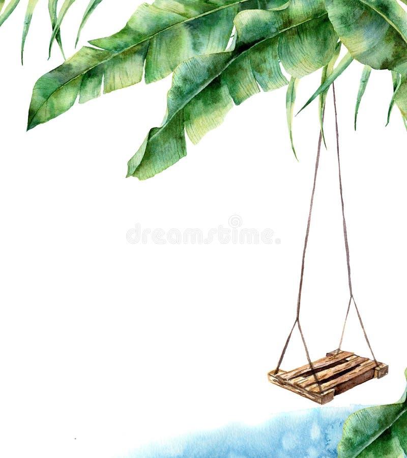 Tropiskt kort för vattenfärg med gunga Räcka målad farstubrogunga på bananen gömma i handflatan isolerat på vit bakgrund tropiskt vektor illustrationer