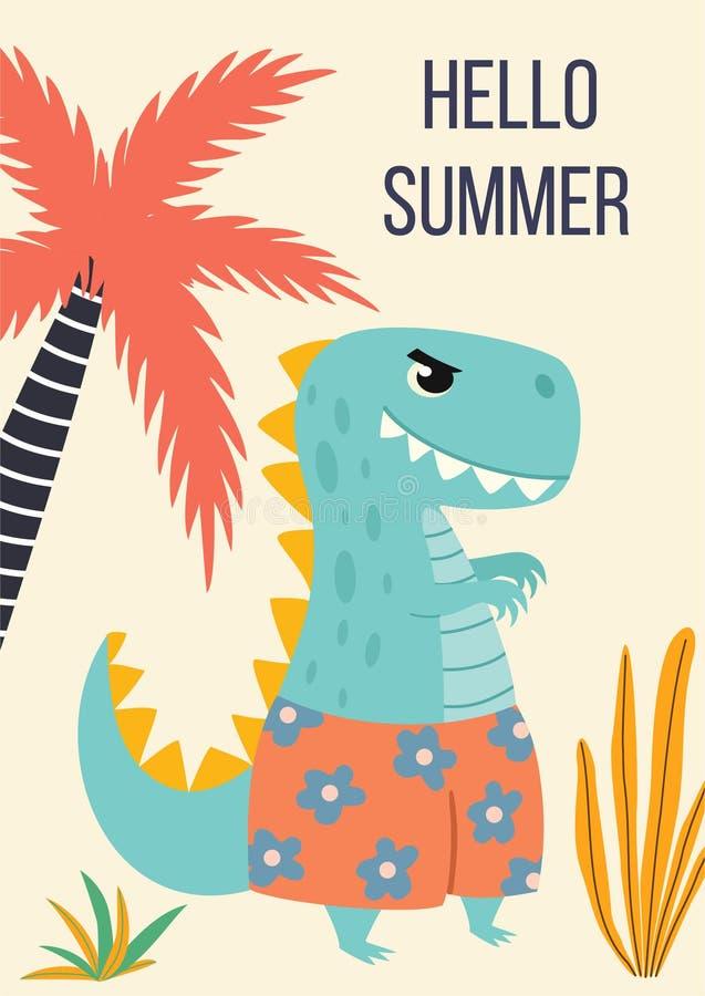 Tropiskt kort med en gullig tecknad filmdinosaurie i strandkortslutningar ocks? vektor f?r coreldrawillustration vektor illustrationer
