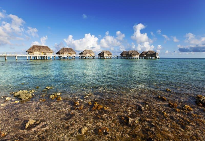 Tropiskt landskap - koraller till havet och husen på högar royaltyfri foto