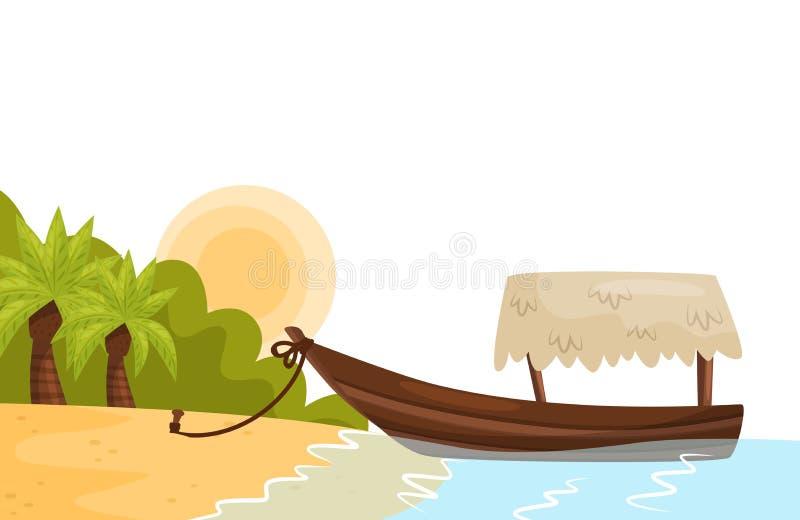 Tropiskt landskap med den sandiga stranden, palmträd, solen och fartyget på kust av ön barn för kvinna för strandformentera ö Pla vektor illustrationer