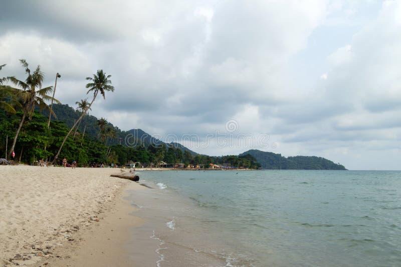 Tropiskt landskap med det blåa havet, den sandiga stranden, palmträd och molnig himmel i ett stormigt väder arkivbild