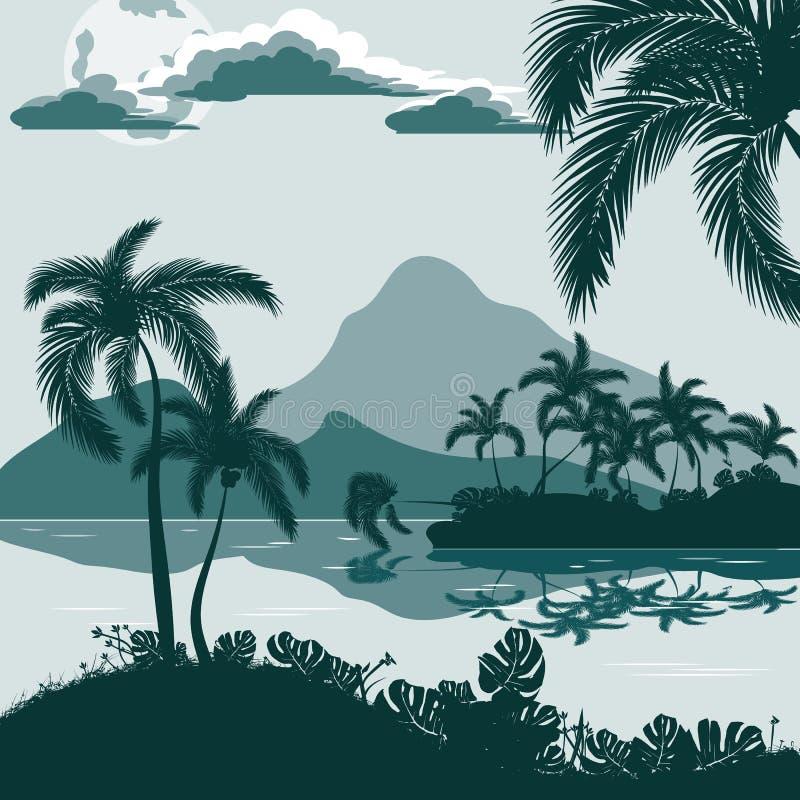 Tropiskt landskap, sikt från kusten med palmträd och växter, ö och berg i avståndet vektor illustrationer