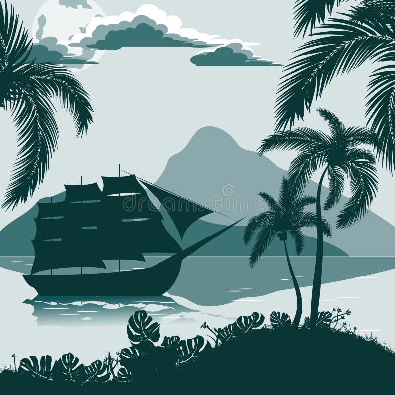 Tropiskt landskap, sikt från kusten med palmträd och växter, seglingskepp, berg i avståndet vektor illustrationer