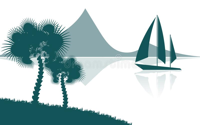 Tropiskt landskap, sikt från kusten med palmträd och växter, seglingskepp, berg i avståndet stock illustrationer