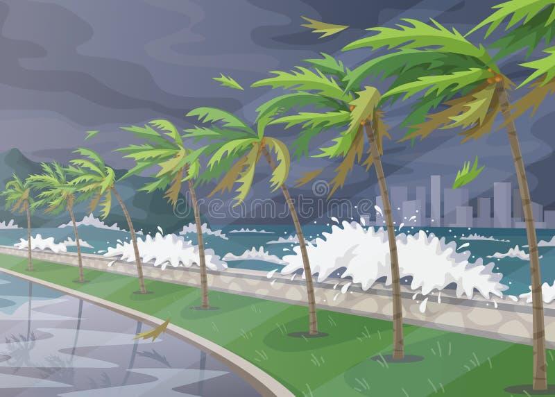 Tropiskt landskap under den inkommande orkanen royaltyfri illustrationer