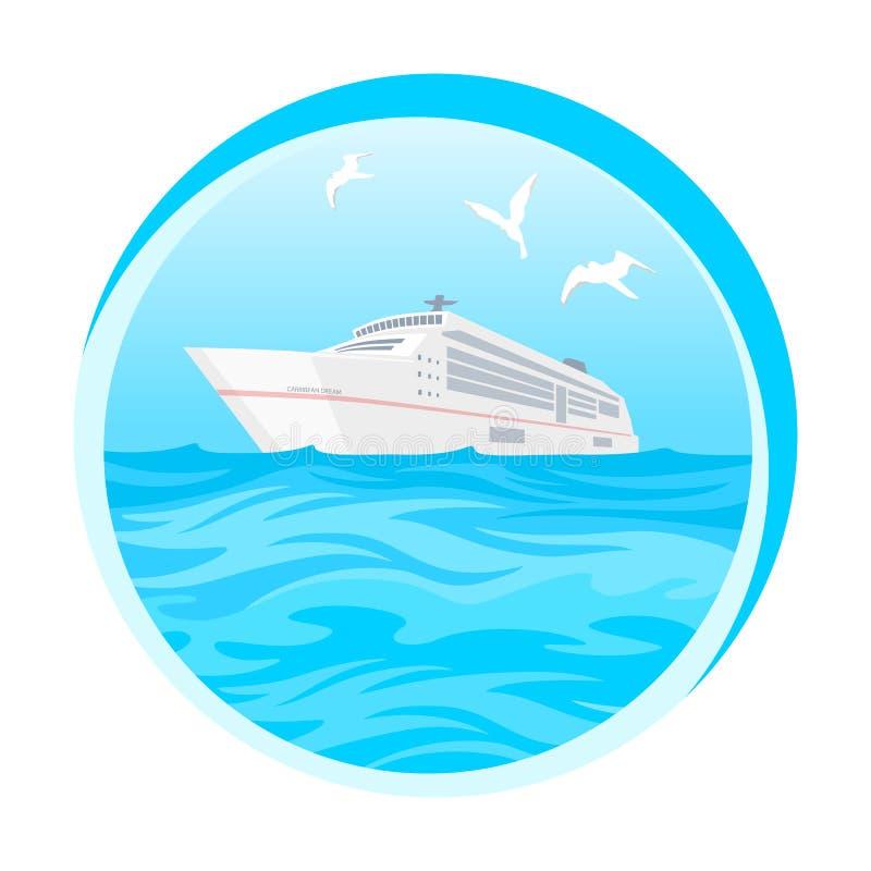 Tropiskt paradis för hav, ö, kryssningskepp stock illustrationer