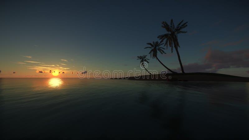 Tropiskt paradis på den fantastiska solnedgången stock illustrationer