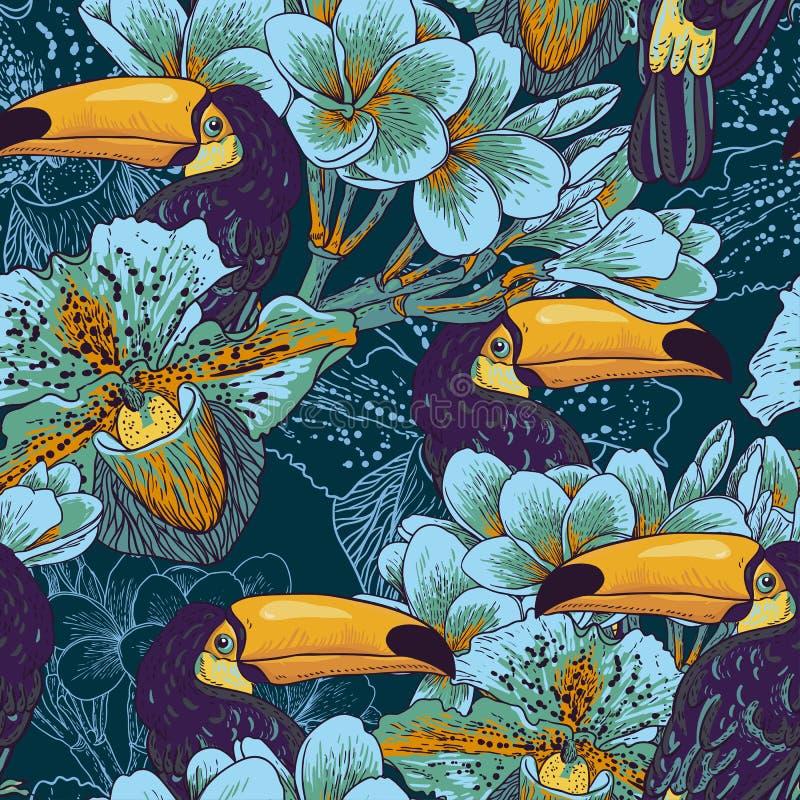 Tropiskt sömlöst parrern med blommor och tukan vektor illustrationer