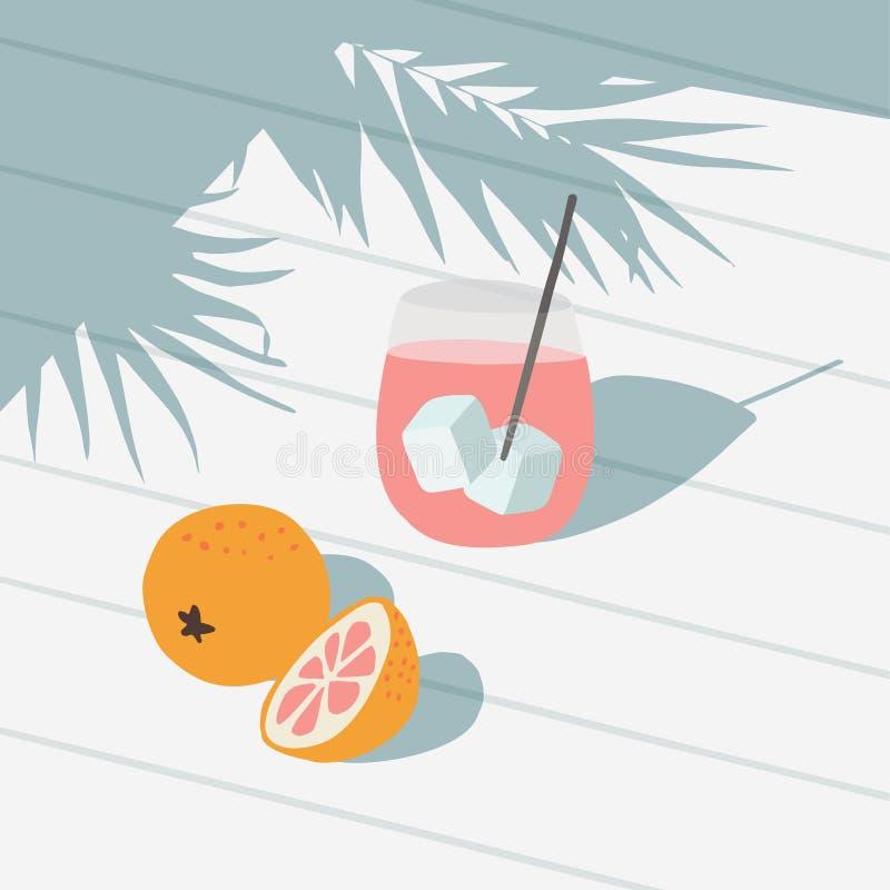 Tropiskt sommarhälsningkort, inbjudan Coctaildrink med is, grapefrukt, orange frukt Vit tabellbackgound in royaltyfri illustrationer