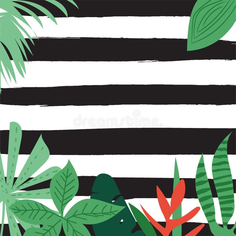 Tropiskt sommartryck för vektor, exotisk djungelväxt och palmbladillustration blom- och geometrisk grungebakgrund för din de stock illustrationer