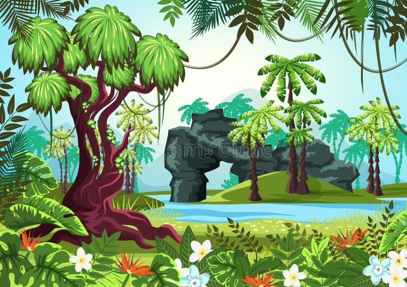 Tropiskt trä, djungelskog med gömma i handflatan och floden royaltyfri illustrationer