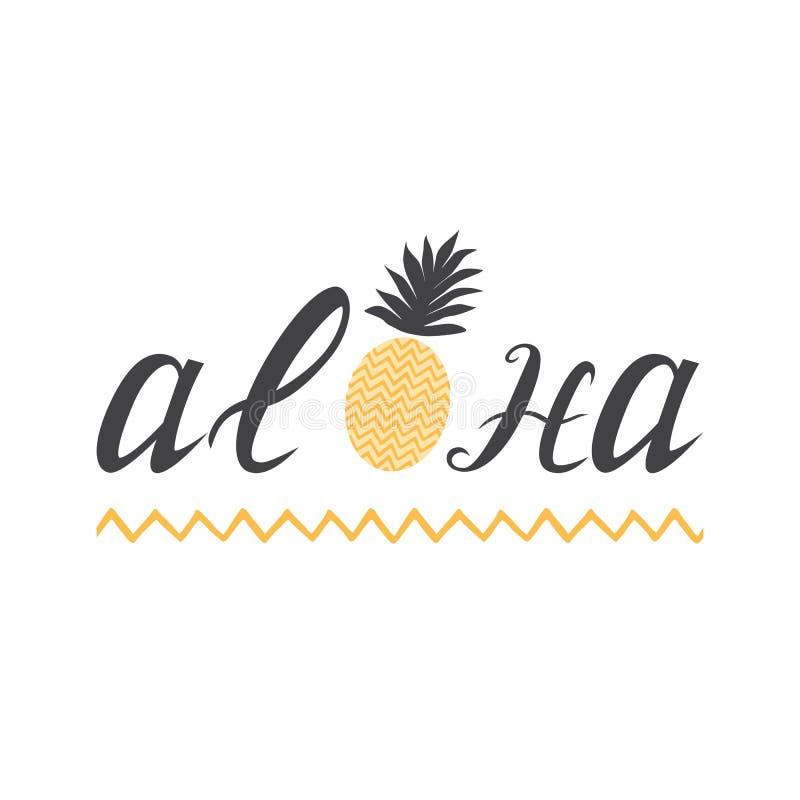 Tropiskt tryck för med bokstäverbeståndsdel Aloha och gullig ananas på den vita bakgrunden med vågslaglängden stock illustrationer