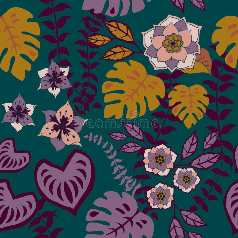 Tropival Floral Seamless Pattern, Autumn flowers Surface Pattern Background Romantic Floral Repeat Pattern for textile design. Tropical Fall Floral Seamless royalty free illustration