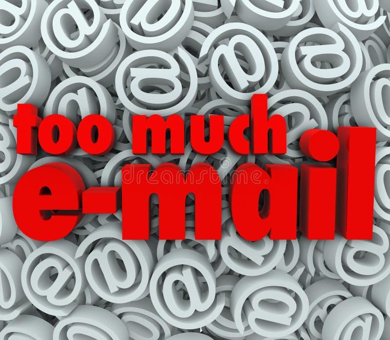 Troppa posta del fondo di simbolo del segno di simbolo del email @ illustrazione vettoriale