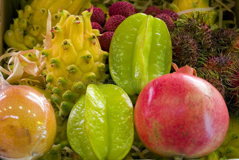 Tropycal fruits. A mix of tropycal fresh fruit in a market royalty free stock photo