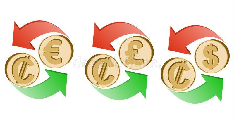 Troque dois pontos ao euro, de libra esterlina e ao dólar ilustração stock